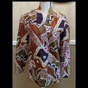 Vintage women's printed silk blazer